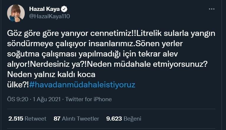 Hazal Kaya: Neden müdahale etmiyorsunuz? Neden yalnız kaldı koca ülke?